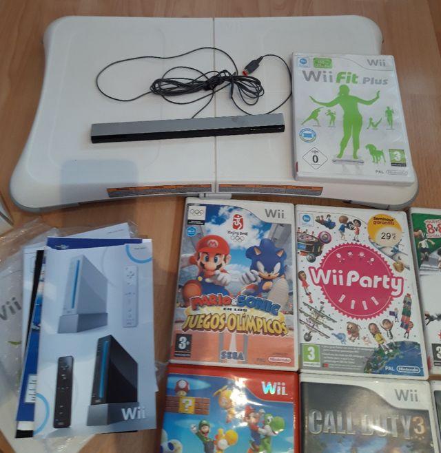 consola Wii y sus accesorios.