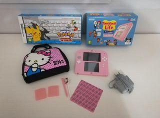 Nintendo 2 DS rosa, dos juegos y funda