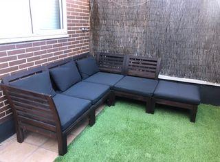 Sofá terraza de madera de teka