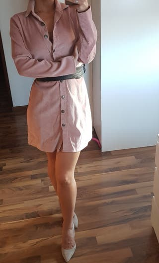 vestido camisero rosa nude