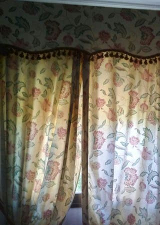 Lote cortinas y colcha.
