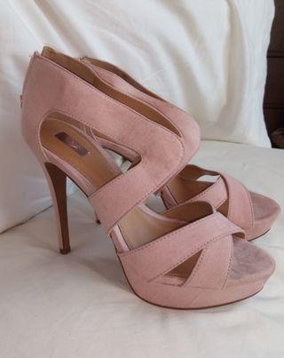 Sandalias rosas tacón con cremallera