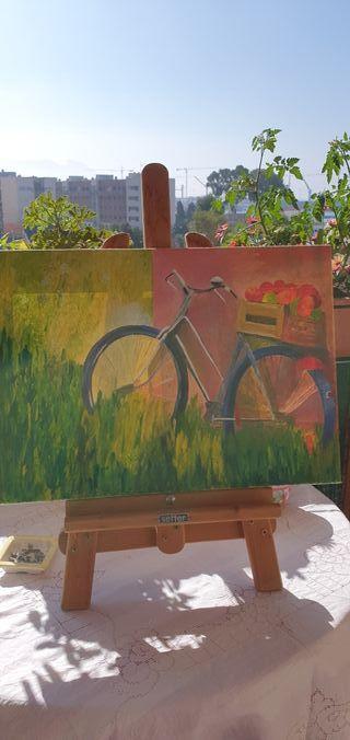 Oleos bicicleta con frutas y casa de campo.