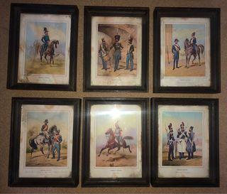 Conjunto de 6 cuadros antiguos de temática militar