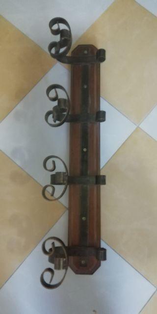 Perchero madera y hierro forjado