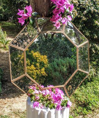 LIQUIDACIÓN Precioso Espejo Latón Hexagonal