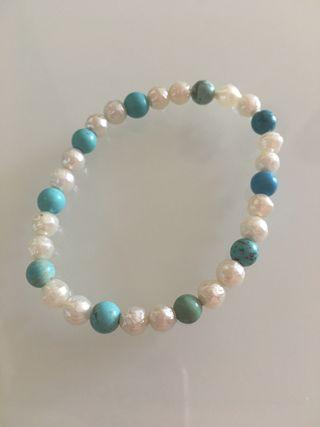 Conjunto perla y turquesa