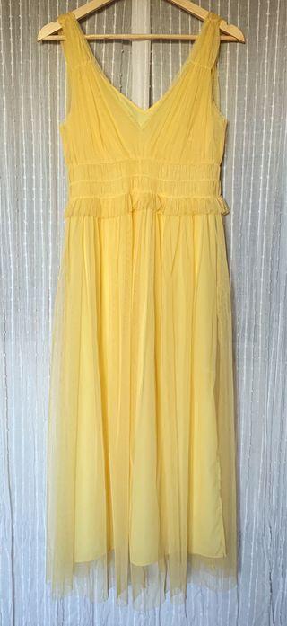 Vestido amarillo tul zara
