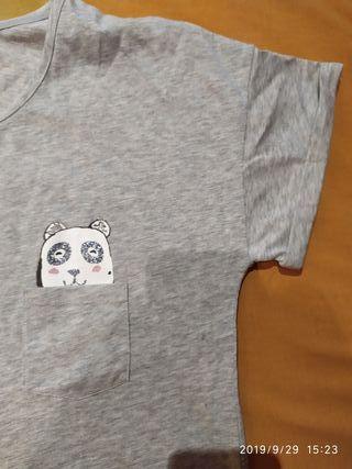 camiseta pijama mujer m etam gris sin estrenar