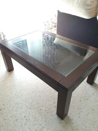 mesa de centro con cristal, abatible. medidas 1'10