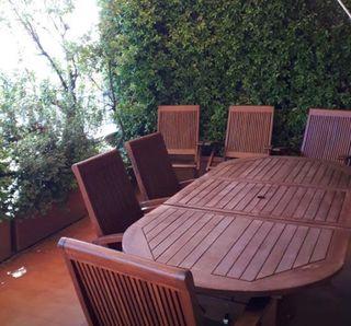 Mesa teka jardin extensible