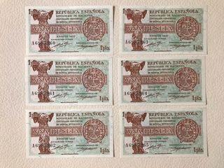 6 Billetes correlativos España 1 peseta 1937
