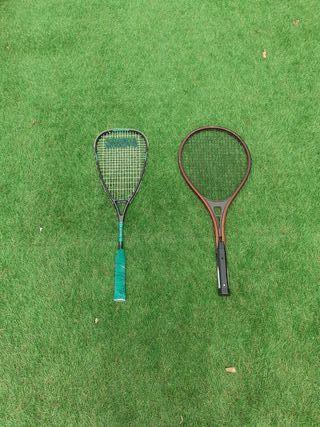 raqueta de squash y raqueta de tenis