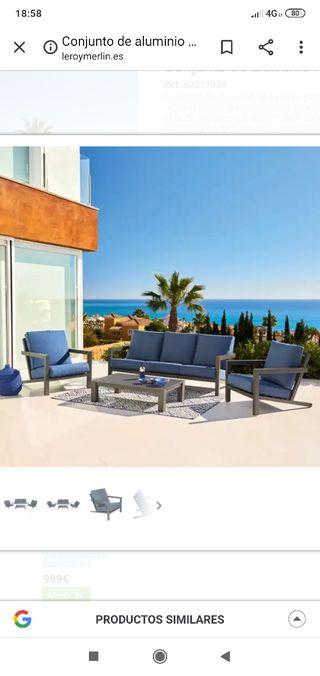 conjuto sofa tres plazas + mesa jardin
