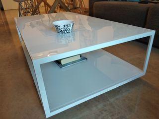 Mesa centro cristal y aluminio