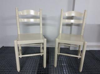 2 x Silla blanca madera