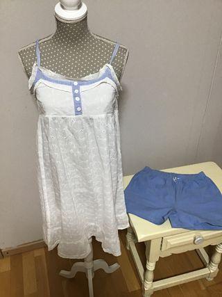 Camisón blanco niña talla 9-10 + pantalón pijama