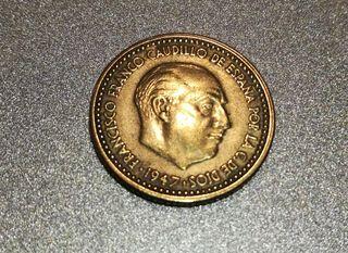 moneda de 1 peseta de Franco 1947 *54