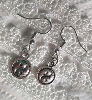 Ying and Yang pierced earrings