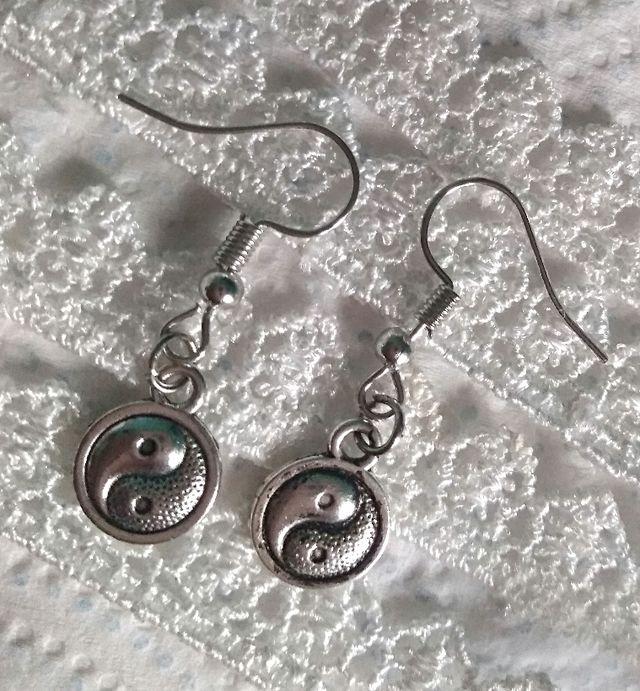 Ying and Yang pierced earrings