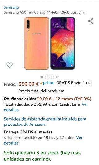 Teléfono móvil Samsung A50 CORAL 128Gb PRECINTADO
