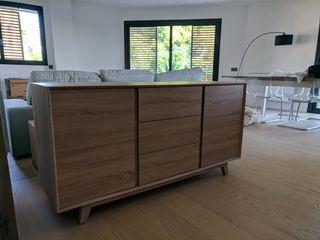 Mueble 2 puertas 3 cajones estilo escandinavo