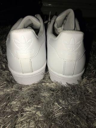 All White Adidas Superstars