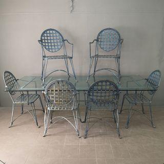 Mesa y 6 sillas de Jardin de hierro maciza