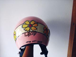 casco moto rosa
