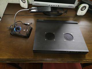 Base ventilador portátil y lámpara Led