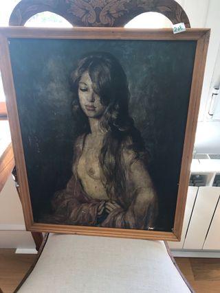 Cuadro oleo retrato mujer