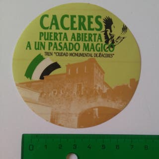 CROMO PEGATINA TURISMO CACERES MONUMENTAL CIUDAD