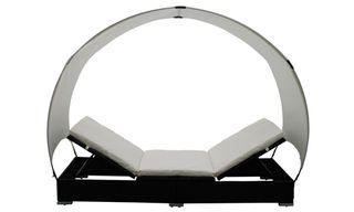 vidaXL Tumbona de ratán con sombrilla 40457