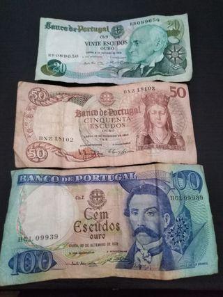 billetes de Portugal. escudos