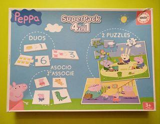 Puzzle y juego 4 en 1 Peppa Pig. Educa Borrás 3+