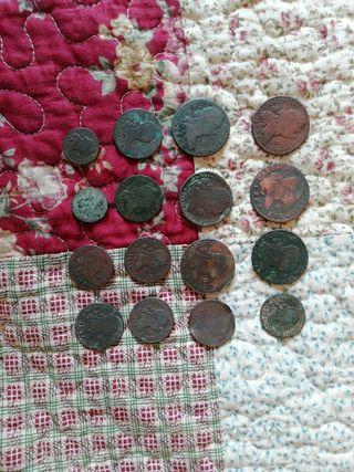 16 monedas de cobre de Carlos III Y Carlos IV
