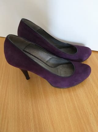 Zapatos de ante violeta Pepe Jeans