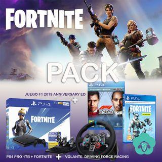 PACK PS4+FORNITE+F1 ANNIVERSARY ED+ VOLANTE