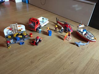 Playmobil,camión,lancha,helicóptero,coche de carre