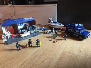 Playmobil lote de comisaría + lancha + furgón