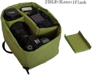 Inserto acolchado bolsa cámaras de fotos DSLR.