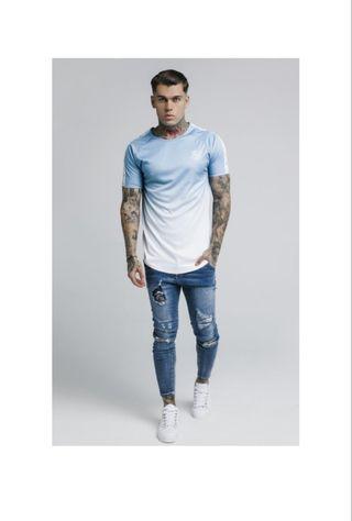 camiseta siksilk original azul y blanca xs