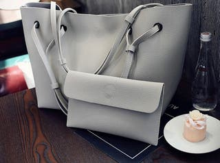 Grey handbag with matching purse