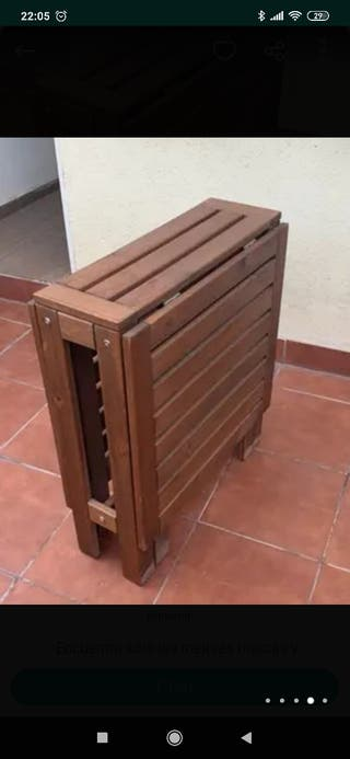 mesa madera de jardin