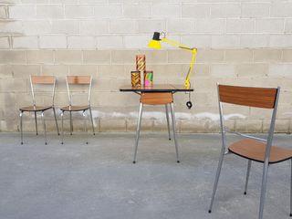 Set de mesa + 3 sillas. Vintage, 60s.