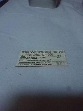 Ticket del metro de madrid viejo