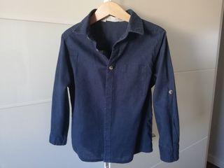 Camisa azul marino niño. T 104. 4 5 años. Lino.
