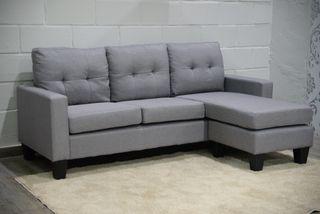 Sofá chaise-longue (tela tapizada gris)