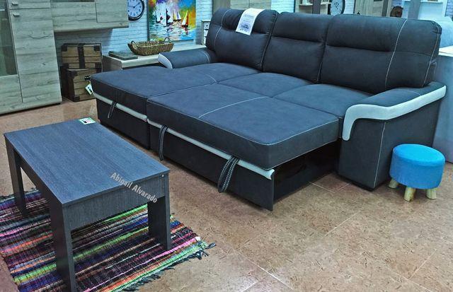 Sofá-cama chaise-longue con arcón [FARRAR]