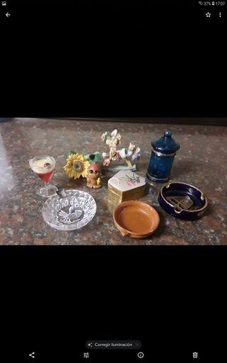 decoración lote cenicero cristal y plata